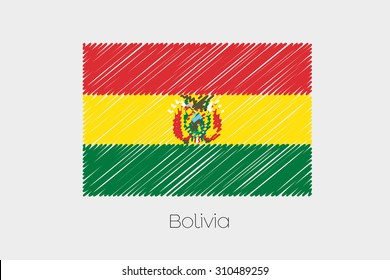A Scribbled Flag Illustration of the country of Bolivia