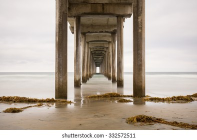 Scripps Pier in La Jolla, California. Long exposure during early morning on an overcast day.