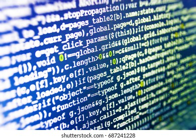 Script procedure creating. Programming code typing. Data network hardware Concept. Programming code abstract screen of software developer. Digital binary data on computer screen.