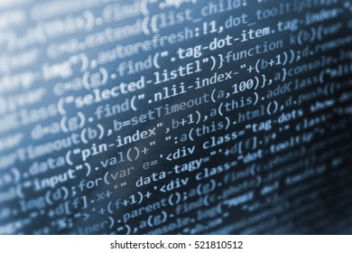 Script procedure creating. Web site codes on computer monitor. Programming code on computer screen. Computer science lesson. Javascript functions, variables, objects. Technology background.