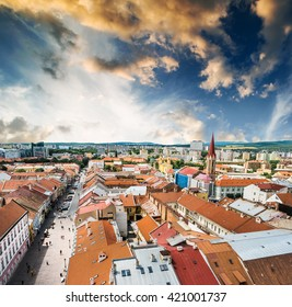 scrnic view on roofs and central part of Kosice in Slovakia at sunset