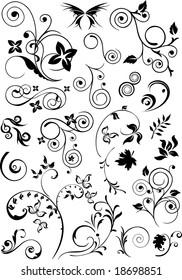 Scroll Art, Set of abstract design elements, raster version of vector illustration