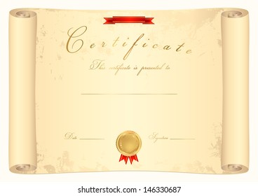 Scroll certificate completion template parchment paper stock vector scroll certificate of completion template or sample background with ribbon gold medal stopboris Gallery