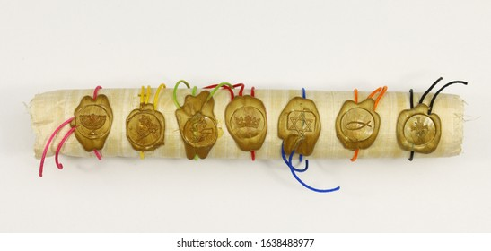 a scroll with golden seals