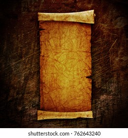 scroll of old parchment, on grunge wall