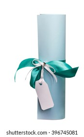 Scroll, tied with a ribbon with a white tag. It is possible to insert the name or other text.