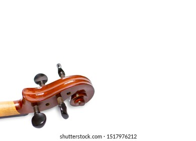 Scroll of violin on white background. Scroll of violin isolate.Scroll and pegs of violin.