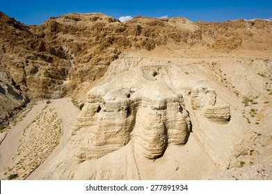 The scrolls cave of Qumran in Israel where the dead sea scrolls have been found