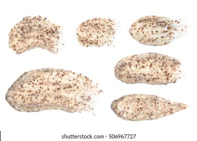 Échantillon de brut isolé sur fond blanc. Ensemble de traces de gommage.