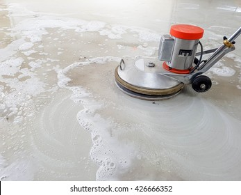 scrubber machine for cleaning and polishing floor with white bubble