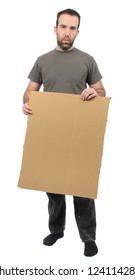 A scruffy looking guy holding a blank piece of cardboard, isolated on a white background.