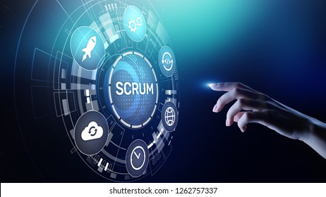 SCRUM, Agile development methodology, programming and application design technology concept on virtual screen.