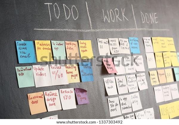 Tableau des tâches Scrum sur la paroi sombre du bureau