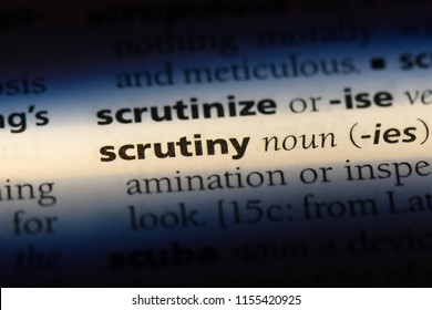 scrutiny word in a dictionary. scrutiny concept.