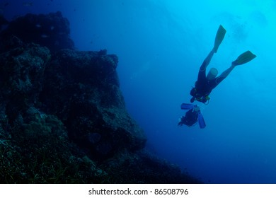 Scuba diver actions underwater