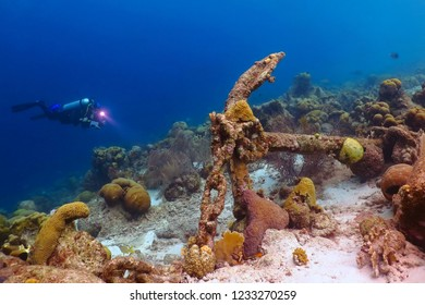 Scuba diver exploring coral reef with old anchor. Diver with flashlight and underwater camera on the coral reef with anchor and chain. Underwater photography from the scuba diving exploration.