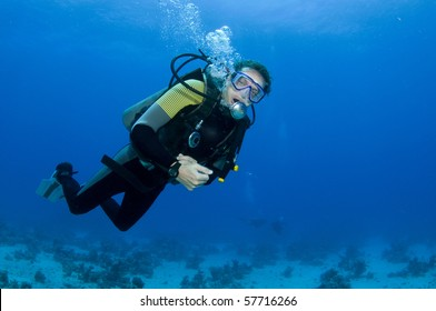 scuba diver having fun on a dive