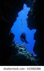 Scuba diver, into the blue