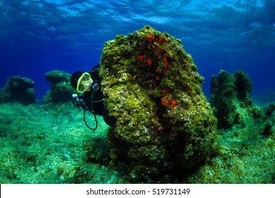 Scuba diver on the bottom of sea with water surface. Underwater photo of a man in scuba gear hiding behind a rock with water surface in the background. Shot in Adriatic sea - Croatia.