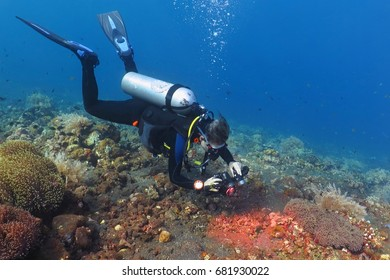 Scuba diver photographer swimming underwater on the beautiful coral reef. Colorful tropical reef landscape with deep blue water and scuba diver. Fish, corals and water plants.