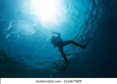 Scuba diver silhouette underwater. Directly below view of scuba diver