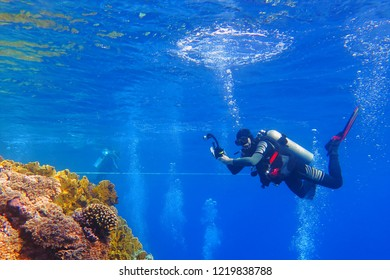 Scuba diver with underwater camera on the coral reef. Shallow sea with diver, reef and bubbles. Diver in the ocean and bubble ring on the water surface. Scuba diving in the sea with marine wildlife.