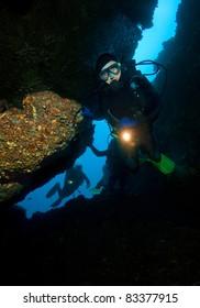 SCUBA divers in a cave
