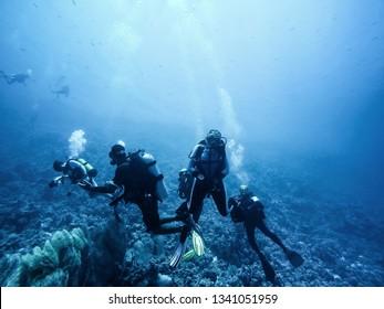 Scuba divers descending to the bottom closeup photo