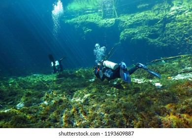 Scuba divers swimming in the cenote. Freshwater lake with divers. Underwater tourists exploring shallow lagoon.