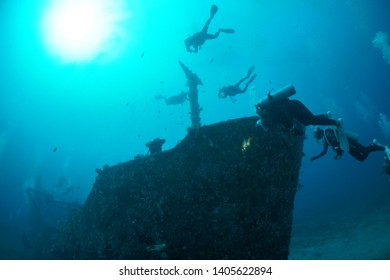 Scuba diving of AlmaJane Wreck diving point in Mindoro, Philippines.