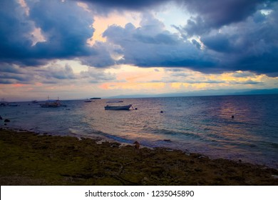 Scuba Diving Boats with a Colorful Sunset in Moalboal, Cebu, Philippines