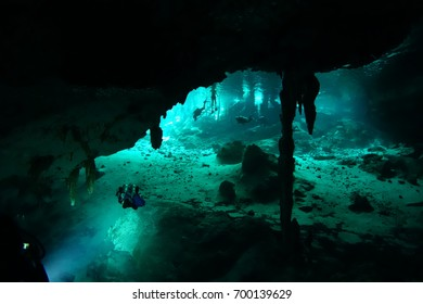 Scuba diving in a cave