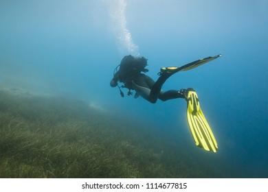 Scuba diving. Scuba diver underwater