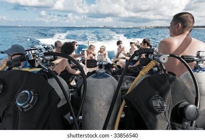 scuba diving equipment on a boat on a se - Shutterstock ID 33856540