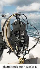 scuba diving equipment on a boat on a se - Shutterstock ID 33856543