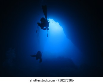 scuba diving at the Grotto in Saipan