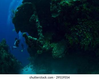 Scuba diving near an old anchor in the caribbean sea (Turks & Caicos)