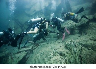 Scuba diving under the hot spring, hot water make vision blurry in Coron area, Palawan, Philippines.