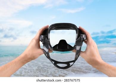 Scuba Mask, Beach, Swimming Goggles.
