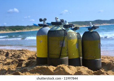 Scuba tanks on beach. Shot in Sodwana Bay Nature Reserve, KwaZulu-Natal province, Southern Mozambique area, South Africa.