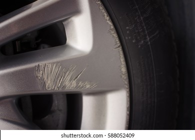 Scuffing and scratch of gray color wheels car waiting in repair. Automotive parts concept.
