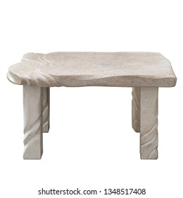 Sculpted stone table isolated on white