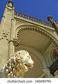 Sculptire of Medici lion, southern facade of Vorontsov palace, Alupka, Crimea, Ukraine
