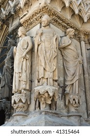 sculptur at the Cathedral  Notre-Dame Reims, France