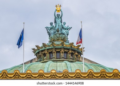 Sculptural detail on the roof of the Paris Opera Garnier (Garnier Palace, National Academy of Music, 1875), famous neo-baroque building. Paris, France. - Shutterstock ID 1444146908