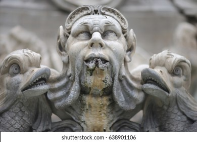 The sculptural element of the Moor Fountain in Navona Square. Rome, Italy.