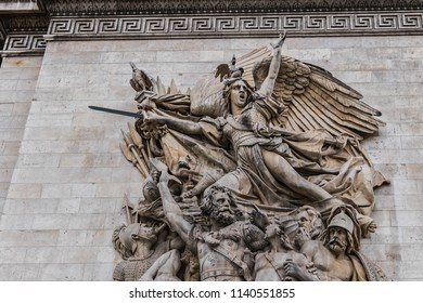 Sculptural groups on Arc de Triomphe de l'Etoile. Charles de Gaulle Place, Paris, France. Arc is one of the most famous monuments in Paris.