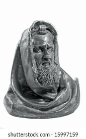 Sculptural portrait of old rabbi(isolated).