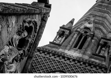 Sculpture above Entrance of St John The Evangelist Church in Taunton England, Shallow Depth of Field Architecture Details Black and White Tone