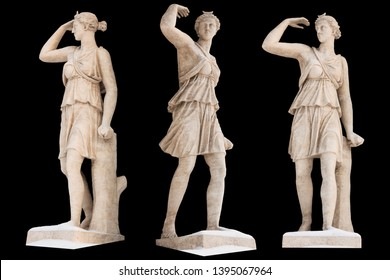 Sculpture of the ancient Greek god Artemis isolate. Vintage carving set with Ancient greece mythology. Sculptor S. S. Pimenov. Created in 1822, the location of St. Petersburg,